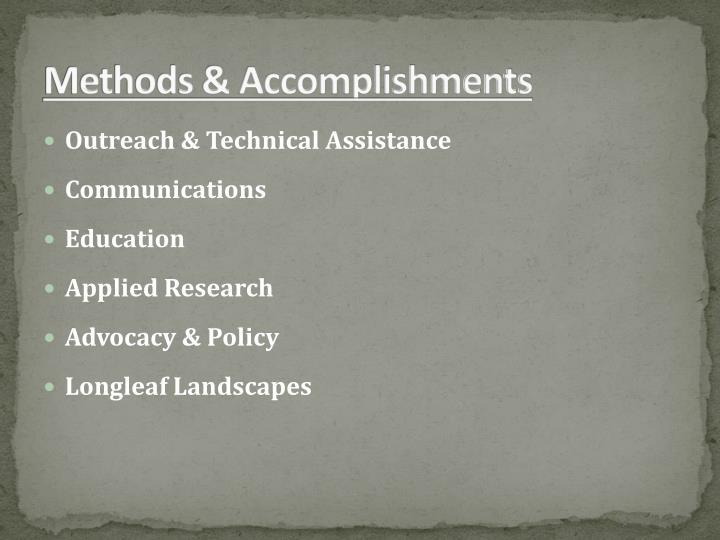 Methods & Accomplishments