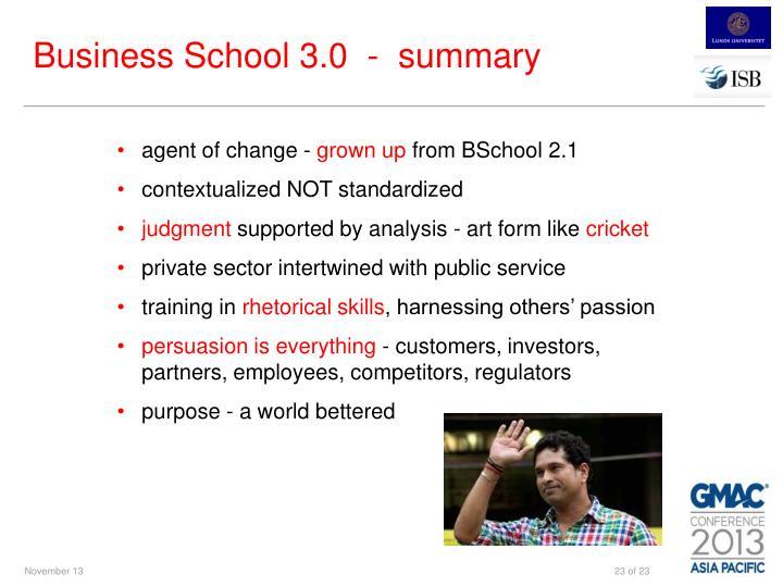 Business School 3.0  -  summary