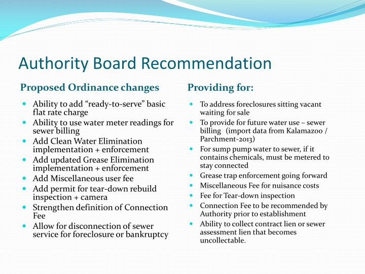 Authority Board Recommendation