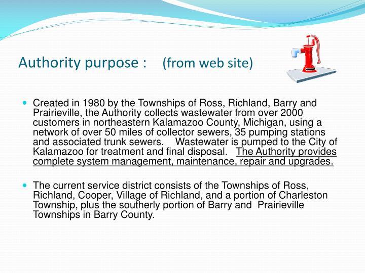 Authority purpose :