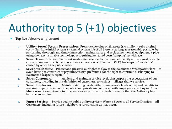 Authority top 5 (+1) objectives