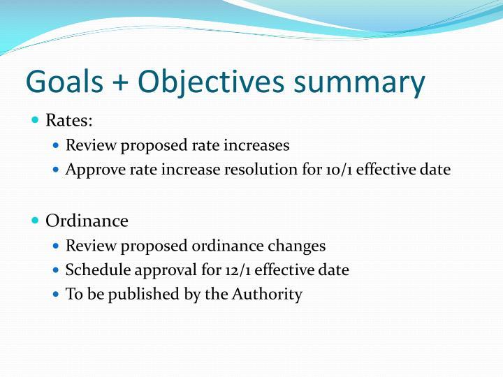Goals + Objectives summary