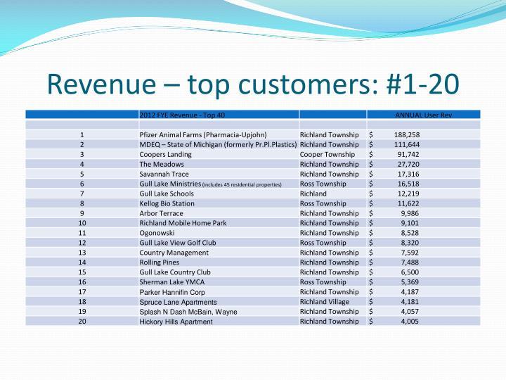 Revenue – top customers: #1-20
