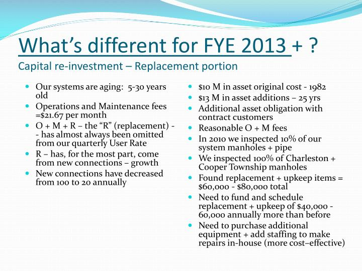 What's different for FYE 2013