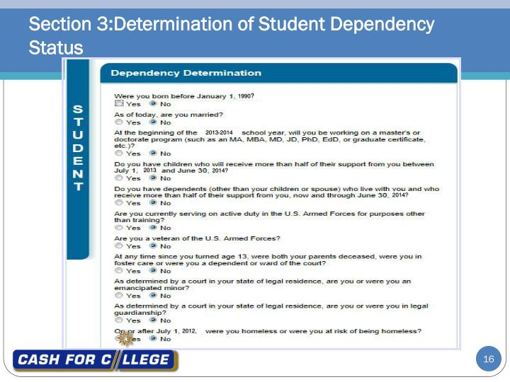 Section 3:Determination of Student Dependency Status