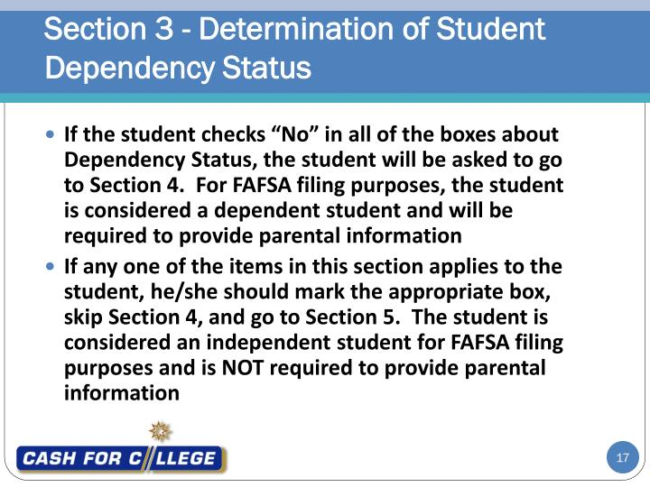 Section 3 - Determination of Student Dependency Status