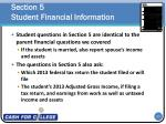 section 5 student financial information