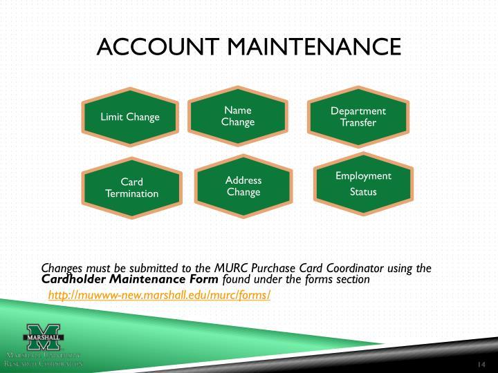 Account Maintenance
