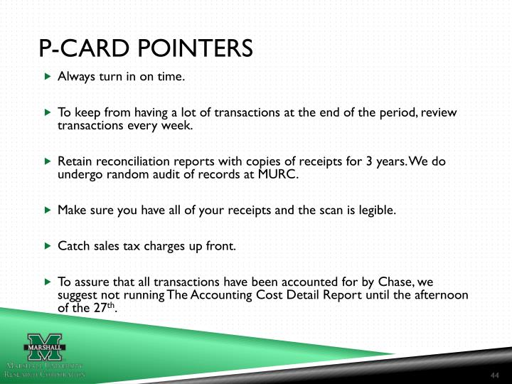 P-CARD POINTERS