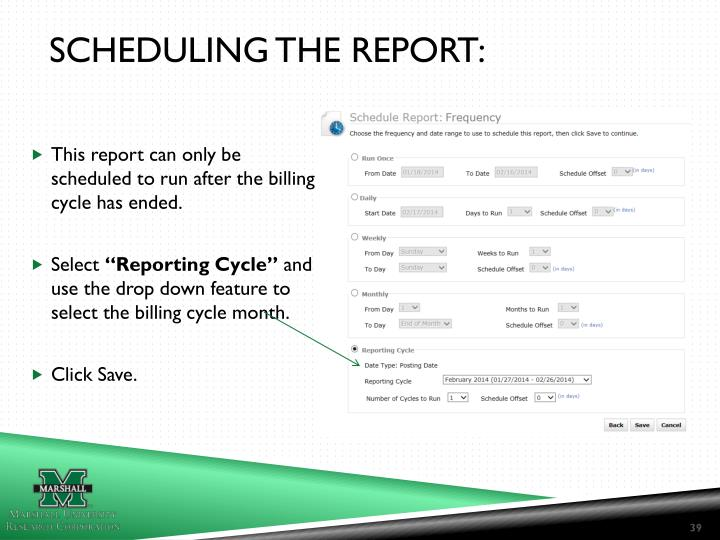 SCHEDULING THE REPORT: