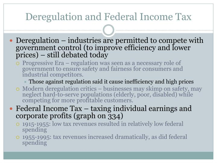 Deregulation and Federal Income Tax