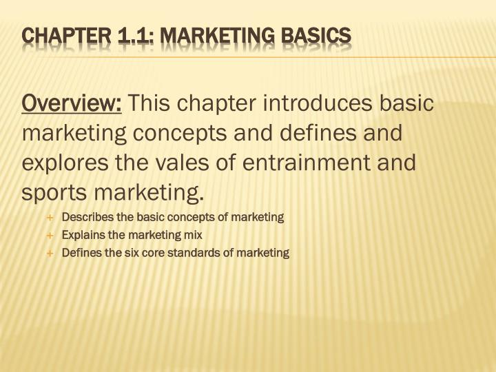 Chapter 1 1 marketing basics