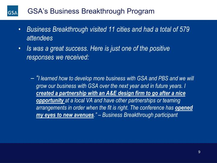 GSA's Business Breakthrough Program