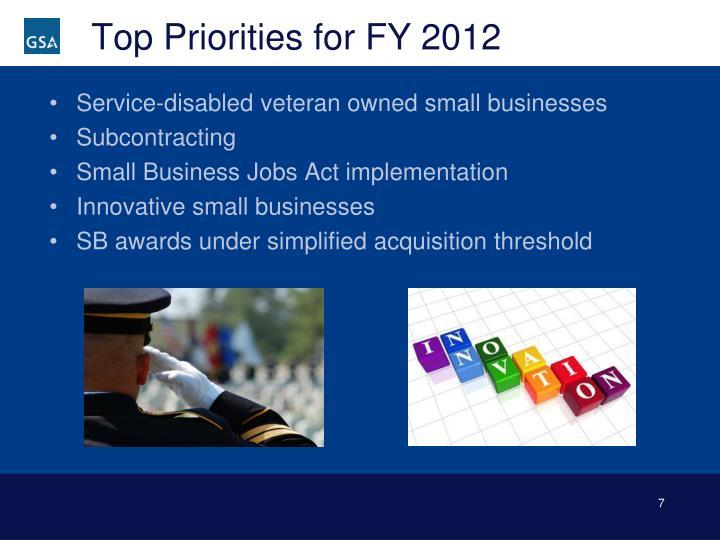 Top Priorities for FY 2012