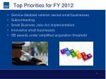 top priorities for fy 2012