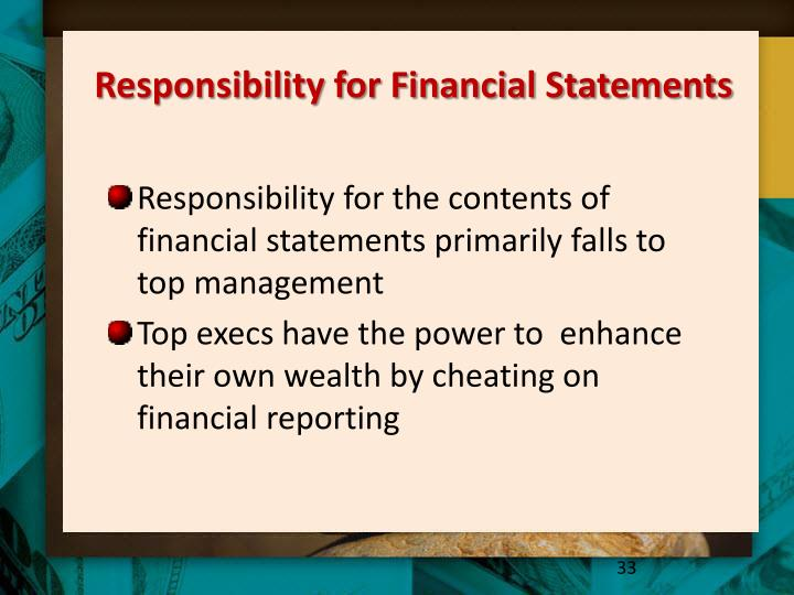 Responsibility for Financial Statements