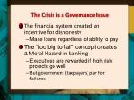 the crisis is a governance issue