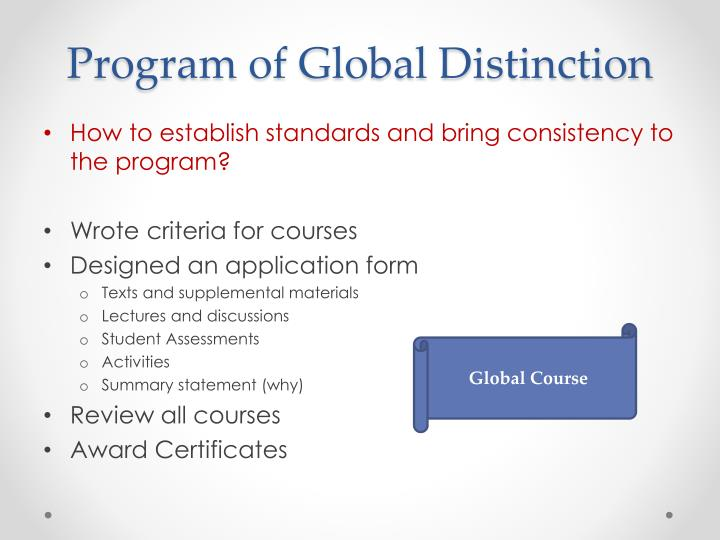 Program of Global Distinction