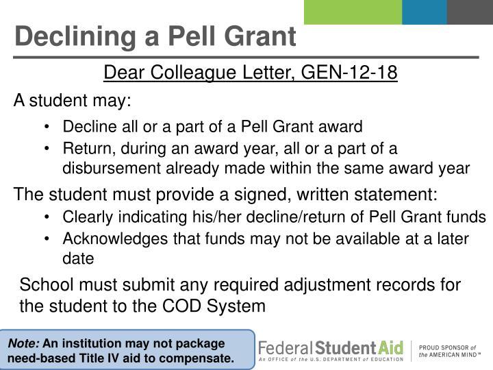 Declining a Pell Grant