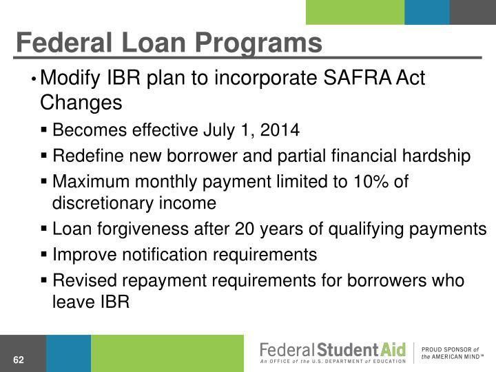Federal Loan Programs