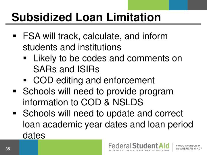 Subsidized Loan Limitation