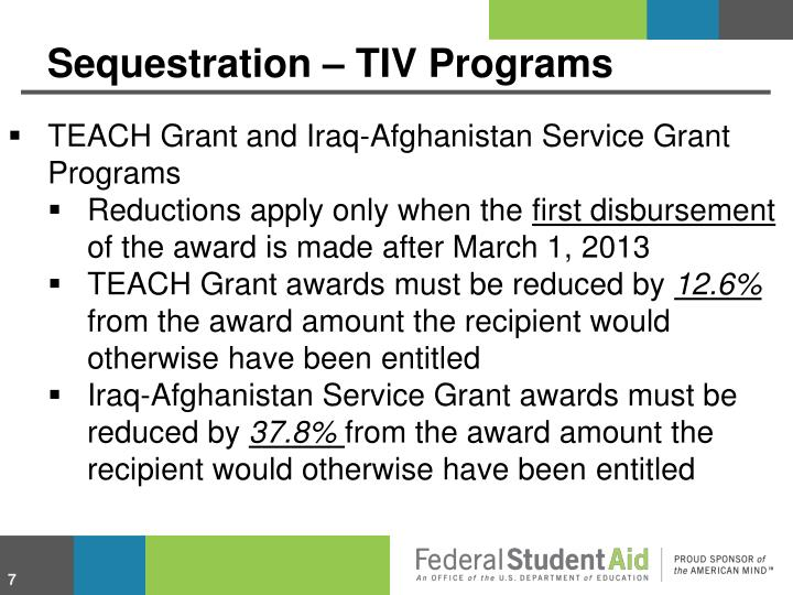 Sequestration – TIV Programs