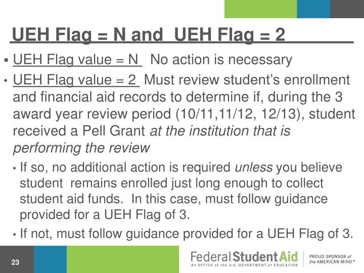 UEH Flag = N and  UEH Flag = 2