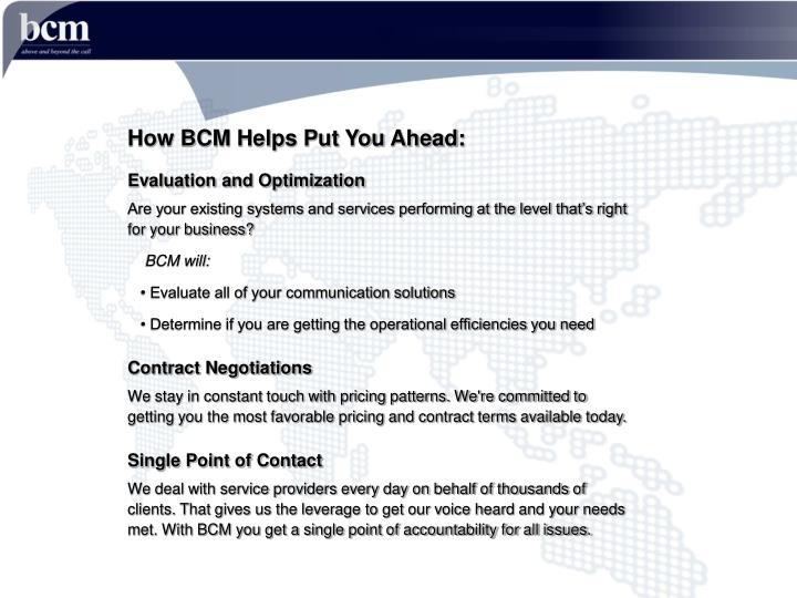 How BCM Helps Put You Ahead: