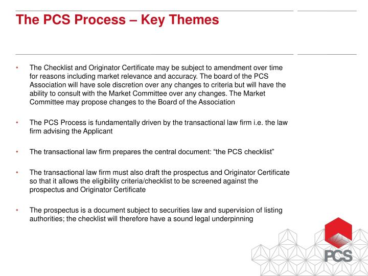 The Checklist and Originator Certificate may be subject to amendment over time for reasons including market relevance and accuracy. The board of the PCS Association will have sole discretion over any