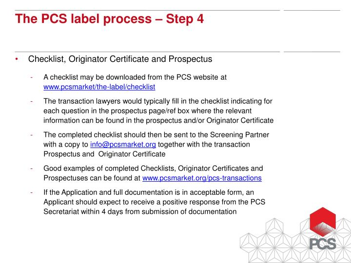 Checklist, Originator Certificate and Prospectus