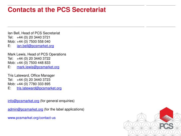 Ian Bell, Head of PCS Secretariat