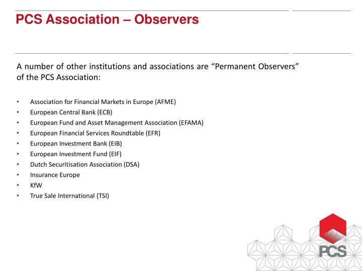 PCS Association – Observers