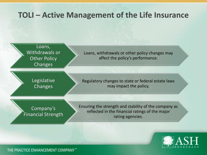 TOLI – Active Management of the Life Insurance