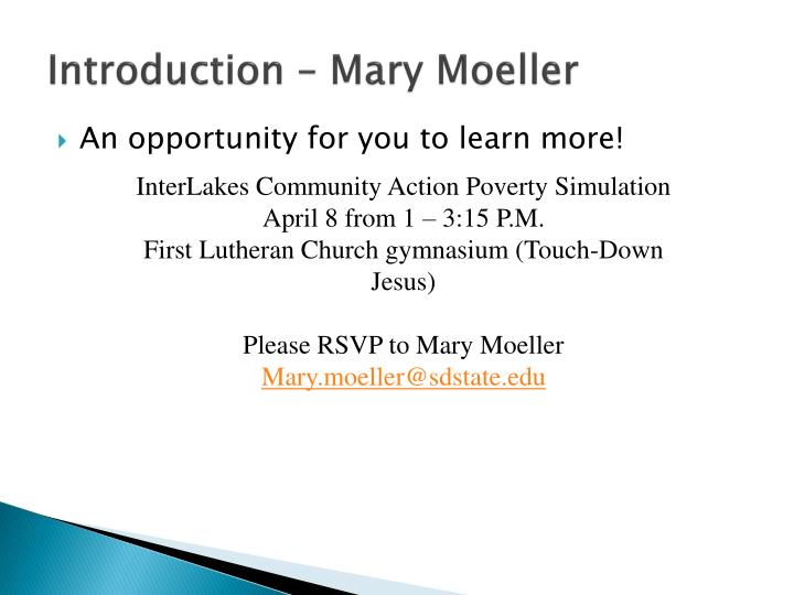 Introduction – Mary Moeller