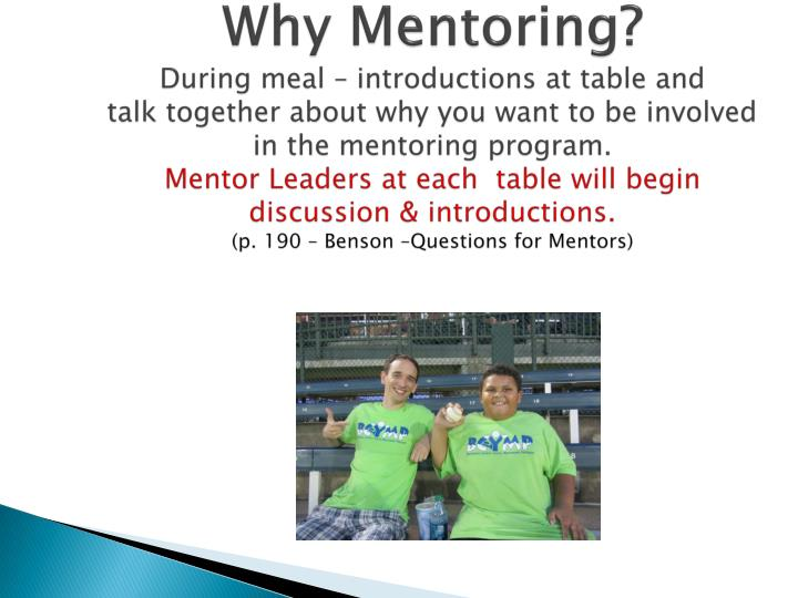 Why Mentoring