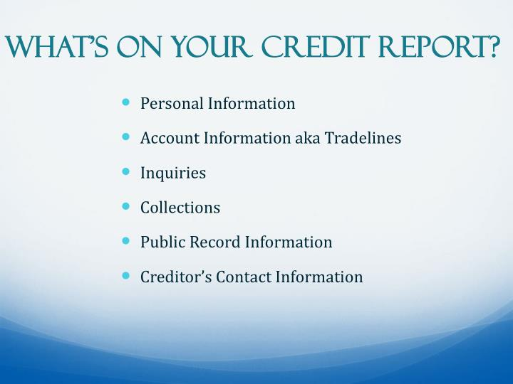 What's on Your Credit Report?