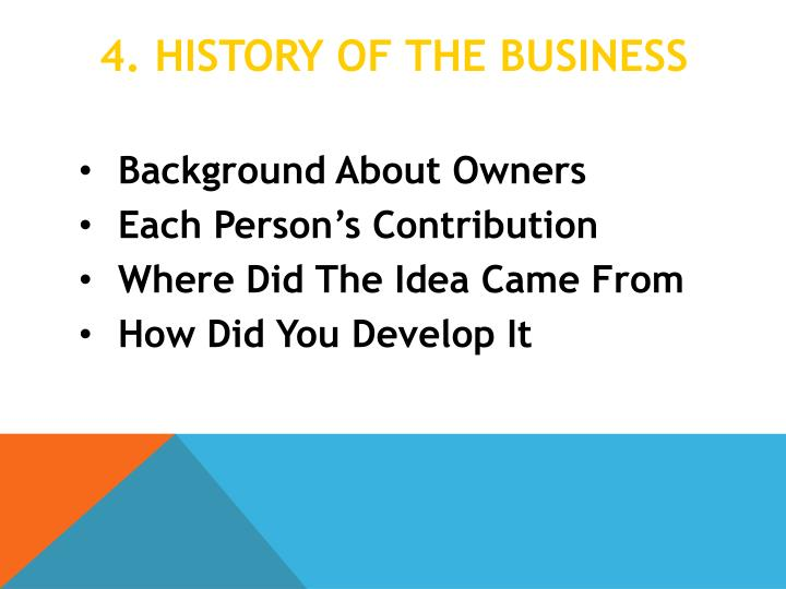 4. HISTORY OF THE BUSINESS