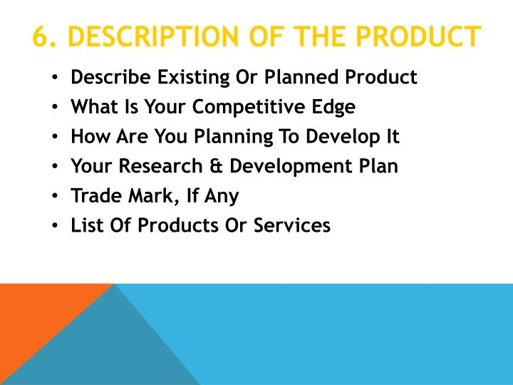 6. Description Of the product