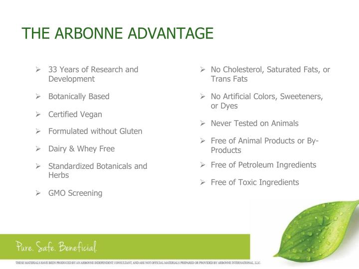 THE ARBONNE ADVANTAGE