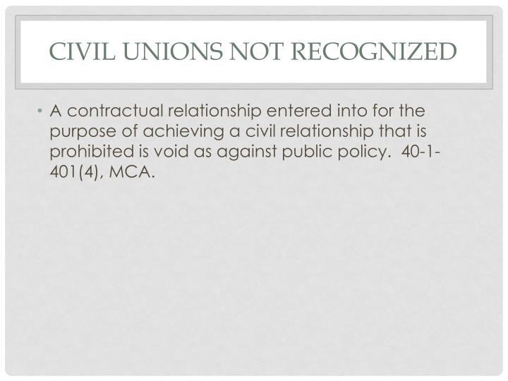 Civil unions not recognized