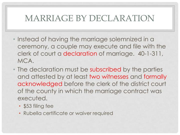 Marriage by declaration