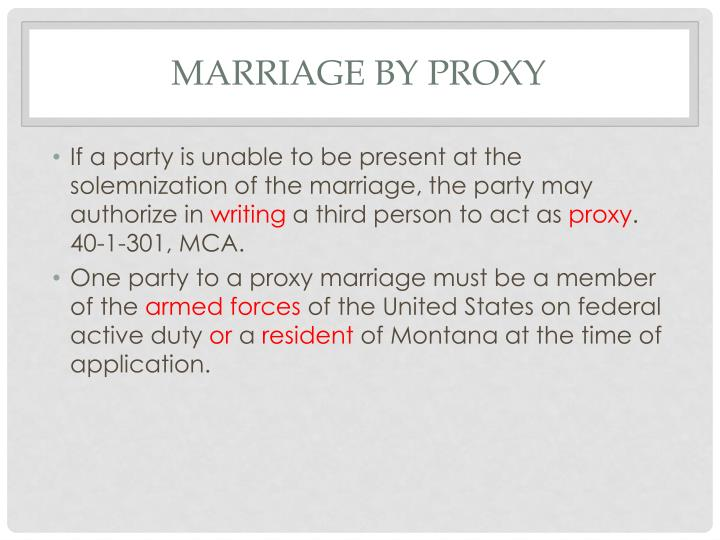 Marriage by proxy
