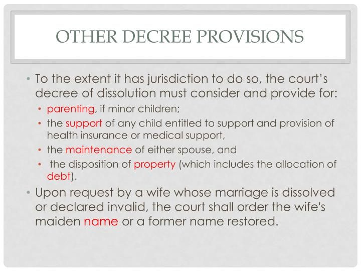 Other decree provisions