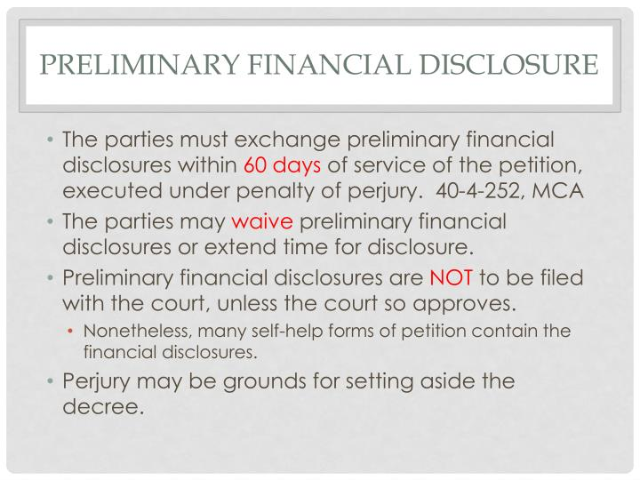 Preliminary financial disclosure