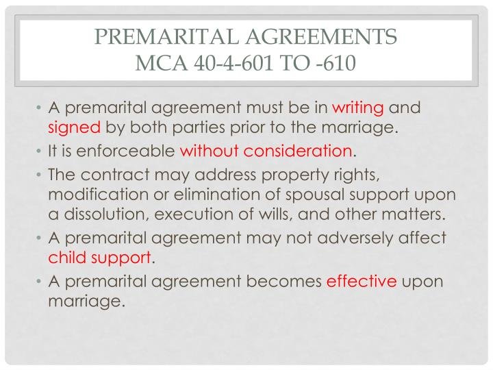 Premarital agreements mca 40 4 601 to 610