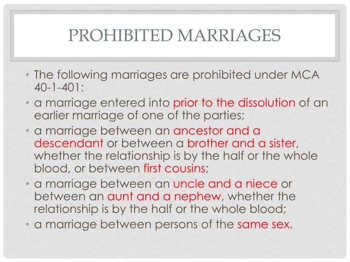 Prohibited marriages