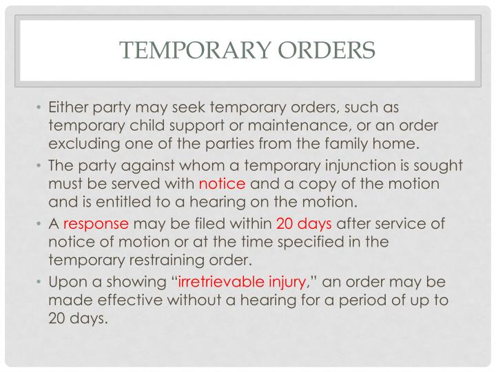 Temporary orders