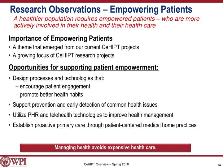 Research Observations – Empowering Patients