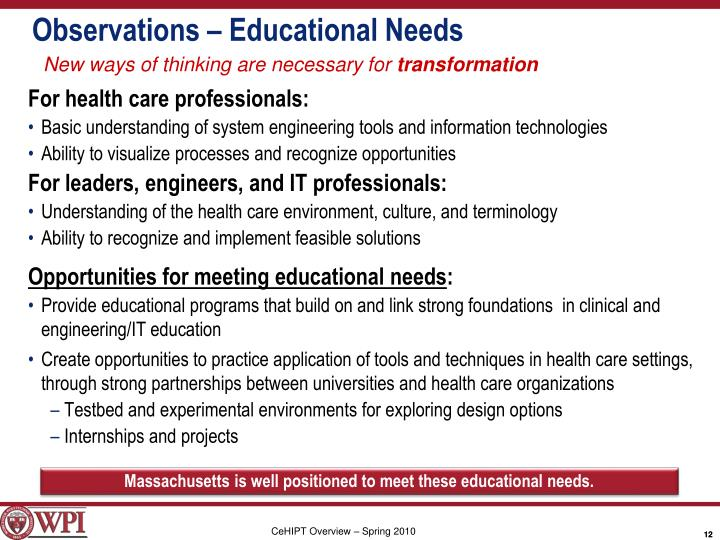Observations – Educational Needs
