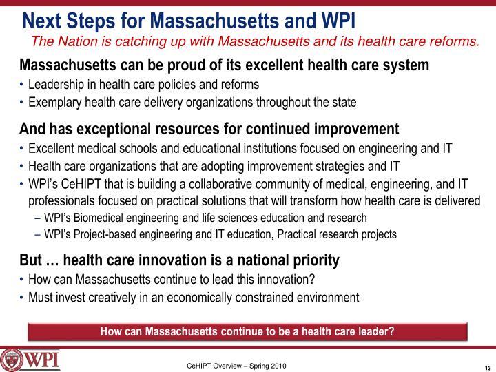 Next Steps for Massachusetts and WPI